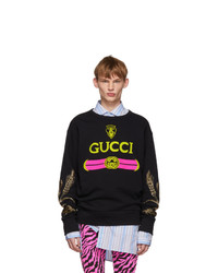 Sweat-shirt imprimé noir Gucci