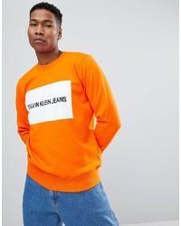 Sweat-shirt imprimé orange Calvin Klein Jeans
