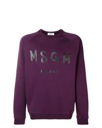 Sweat-shirt imprimé pourpre foncé MSGM