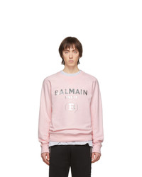 Sweat-shirt imprimé rose Balmain