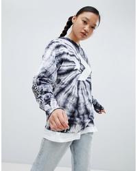 Sweat-shirt imprimé tie-dye noir Converse