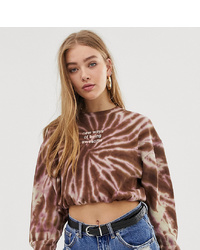 Sweat-shirt imprimé tie-dye rose Pull&Bear