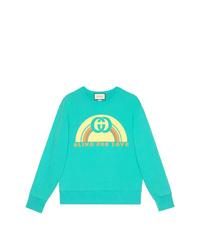 Sweat-shirt imprimé turquoise Gucci