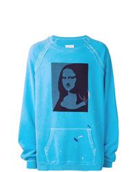 Sweat-shirt imprimé turquoise Maison Margiela