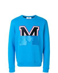 Sweat-shirt imprimé turquoise MSGM