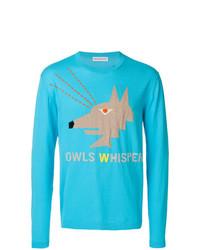 Sweat-shirt imprimé turquoise Walter Van Beirendonck