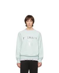 Sweat-shirt imprimé vert menthe Balmain