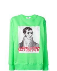 Sweat-shirt imprimé vert menthe MSGM