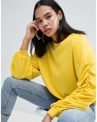 Sweat-shirt jaune Weekday