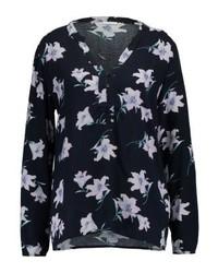 T-shirt à col boutonné à fleurs bleu marine Jdy