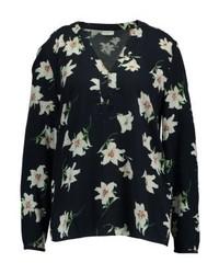 T-shirt à col boutonné à fleurs noir Jdy