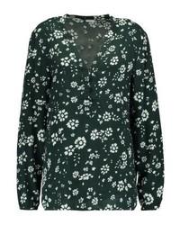 T-shirt à col boutonné à fleurs olive Jdy