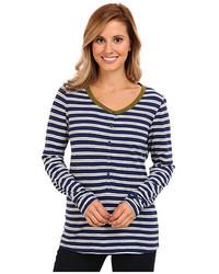 T-shirt à col boutonné à rayures horizontales blanc et bleu marine