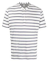 T-shirt à col boutonné à rayures horizontales blanc et bleu marine Eleventy