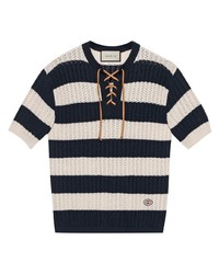 T-shirt à col boutonné à rayures horizontales blanc et bleu marine Gucci