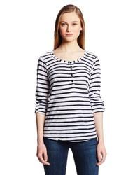 T-shirt à col boutonné à rayures horizontales bleu marine et blanc
