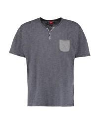 T-shirt à col boutonné à rayures horizontales gris foncé s.Oliver