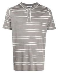 T-shirt à col boutonné à rayures horizontales gris Cruciani