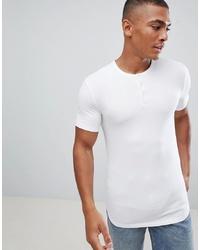 T-shirt à col boutonné blanc ASOS DESIGN