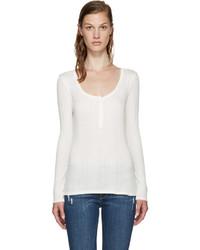 T-shirt à col boutonné blanc Frame