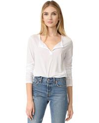 T-shirt à col boutonné blanc James Perse