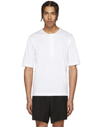 T-shirt à col boutonné blanc Lemaire