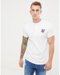 T-shirt à col boutonné blanc Siksilk