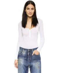 T-shirt à col boutonné blanc