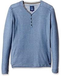 T-shirt à col boutonné bleu clair Tom Tailor