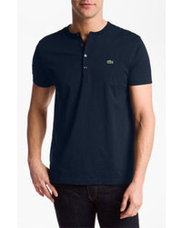T-shirt à col boutonné bleu marine