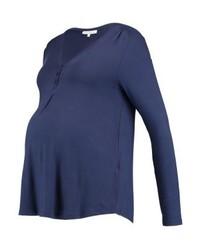 T-shirt à col boutonné bleu marine Anna Field