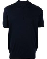 T-shirt à col boutonné bleu marine Brunello Cucinelli