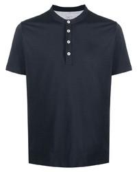 T-shirt à col boutonné bleu marine Eleventy