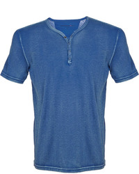 T-shirt à col boutonné bleu