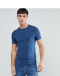 T-shirt à col boutonné bleu ASOS DESIGN