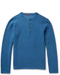 T-shirt à col boutonné bleu Barena