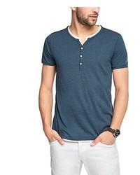 T-shirt à col boutonné bleu Esprit