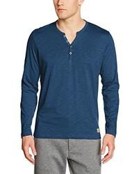 T-shirt à col boutonné bleu Tom Tailor
