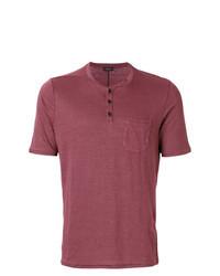 T-shirt à col boutonné bordeaux