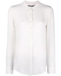 T-shirt à col boutonné en soie blanc Raquel Allegra