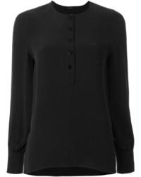 T-shirt à col boutonné en soie noir Joseph
