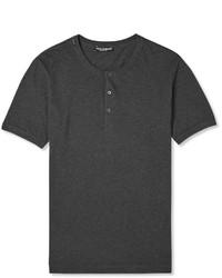 T-shirt à col boutonné gris foncé Dolce & Gabbana