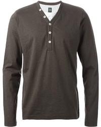 T-shirt à col boutonné gris foncé Eleventy