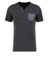 T-shirt à col boutonné gris foncé Produkt