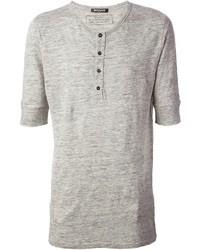 T-shirt à col boutonné gris Balmain
