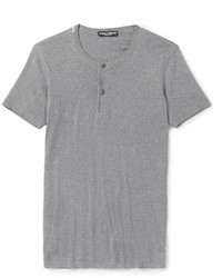 T-shirt à col boutonné gris Dolce & Gabbana