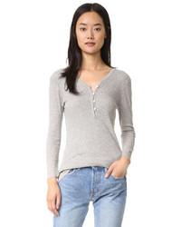 T-shirt à col boutonné gris James Perse