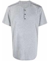 T-shirt à col boutonné gris John Varvatos