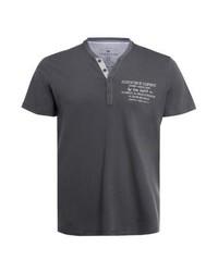T-shirt à col boutonné imprimé gris foncé Tom Tailor