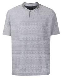 T-shirt à col boutonné imprimé gris D'urban